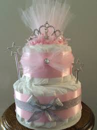 pink princess crown diaper cake for baby shower centerpiece unique