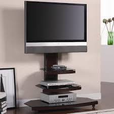 Tv Stand Furniture Living Room Exciting Triple Black Modern Glass Shelves Lcd Tv