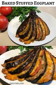 baked stuffed eggplant with cheese and tomato recipe ketovale
