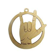sign language ornament i you ornament sign