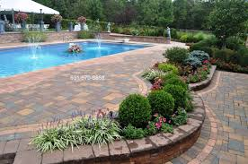 Long Island Patio Back Yard Pool Design Paving Stone Patio Long Island Ny Deck