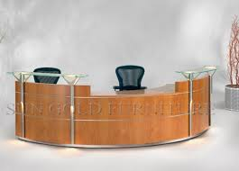 office reception desk for sale china sale blue curved glass trestle office front desk