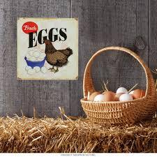 fresh eggs chicken farm metal sign country kitchen decor