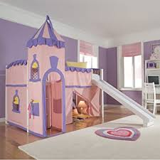 Girls Bedroom Furniture Set by Amazon Com Schoolhouse Twin Princess Loft Bed W Slide Perfect