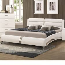 White Color Bedroom Furniture Bedding Modern Comfortable Queen Size Bed Silver Wood California
