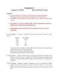 assighnment 1 combustion mole unit