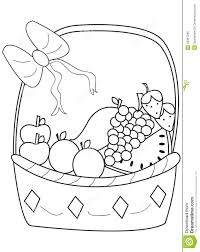 hand drawn coloring page of a fruit basket stock illustration