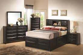 bedroom queen storage bed with bookcase headboard full size