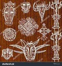 set tribal masks decorative elements stock vector