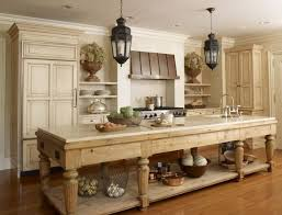 elegant kitchen furnished with narrow farmhouse table island under