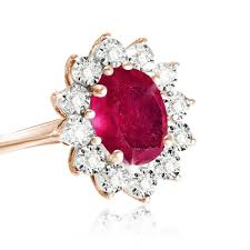 size 9 ring in uk 9kt gold solid diamond and ruby cluster ring