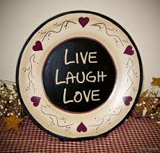 primitive colonial home decor primitive wood plate live laugh love rustic country home decor