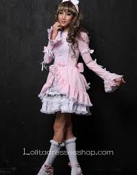 cheap knee length pink black high neckline cotton gothic