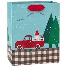 santa gnome in truck medium christmas gift bag 9 6