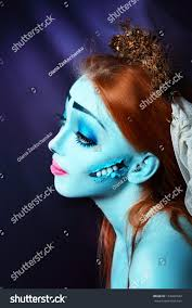 halloween beautiful model perfect corpse bride stock photo