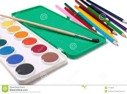 Color And Paint Water Color Paintbrush And Color Pencils Stock Images Image