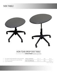 Drop Side Table Hon Tear Drop Side Table Roe Recycled Office Environments Inc