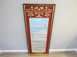 Beveled Floor Mirror by La Barge Baroque Style Red Fabric Gold Ornate Beveled Floor Mirror