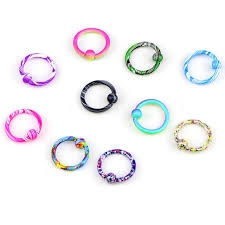 colored nose rings images Fake piercing medical stainless steel colorful nose hoop nose jpg
