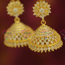 real gold earrings j5289 gold plated real look white diamond finish indian jhumka