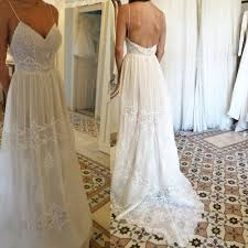 chiffon wedding dress a line spaghetti straps backless chiffon wedding dress with lace