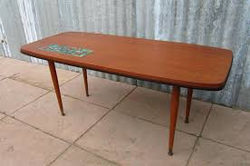 vintage teak coffee table with ceramic tile 1950s for sale at