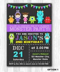 monsters inc birthday invitations monsters inc birthday