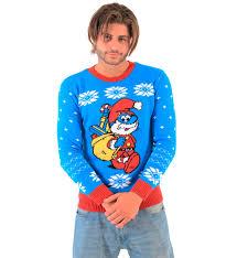 santa sweater the smurfs papa smurf as santa blue sweater