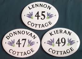hand painted house signs by ceramic art october 2012