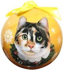 world calico cat glass blown ornament