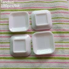 100 pics ustensiles de cuisine tanduzi 100 pcs gros carré blanc plaque ustensiles de cuisine