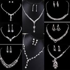 crystal pearl necklace set images Crystal pearl necklace earring set silver bridal bridesmaid jpg