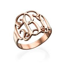 Monogram Ring Gold Sterling Silver Monogram Ring Mynamenecklace