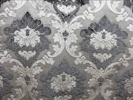 Peacock Velvet Upholstery Fabric Parisian Cut Velvet Graphite Smoke Silver And Grey Damask