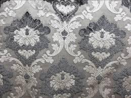 Grey Velvet Upholstery Fabric Parisian Cut Velvet Graphite Smoke Silver And Grey Damask