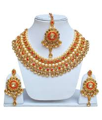 gold orange necklace images Lucky jewellery designer orange color gold plated pearl and stone jpeg
