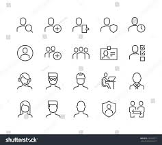 simple set users related vector line stock vector 626157677