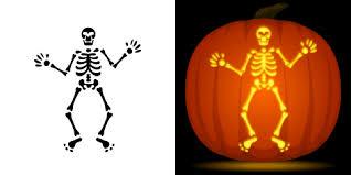 free skeleton pumpkin stencil
