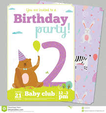 Invitation Cards Birthday Party Birthday Party Invitation Card Template With Cute Stock Vector