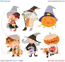 clipart halloween trick or treat children in costume royalty
