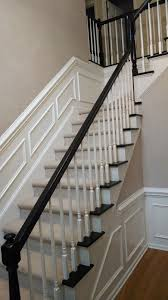 How To Paint A Banister Black Refinishing 2 Story Foyer Stairs From Old Brown To Black Youtube
