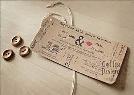 ticket wedding invitations vintage rustic craft ticket style wedding invitations stationery
