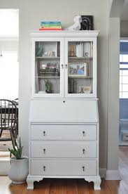 white home office furniture small computer desk with hutch glass