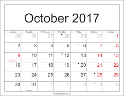 Printable Halloween Calendar October 2017 Calendar Printable With Holidays Pdf And Jpg