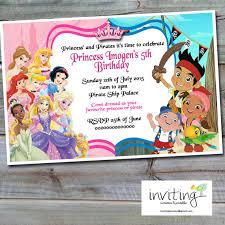 princess and pirates invitation design disney princesses