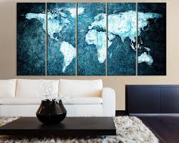 Beautiful World Map by Beautiful World Map Blue Metalic Background Canvas Print 5 Panel