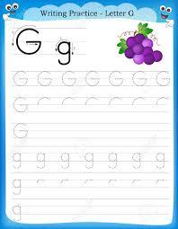 writing practice letter g printable worksheet for preschool