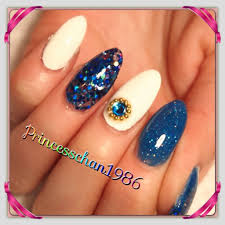 almond acrylic nails blue and white youtube