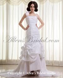 allens bridal taffeta one shoulder chapel train mermaid wedding