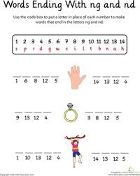 word endings ng and nd worksheet education com